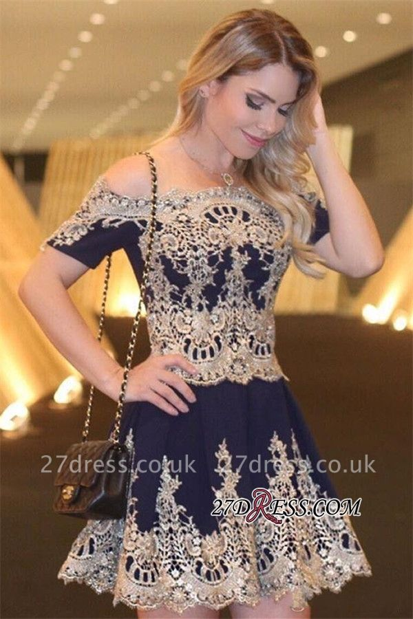 Navy Latest Sexy Off-The-Shoulder Lace Appliques Short-Sleeves Homecoming Dress UK