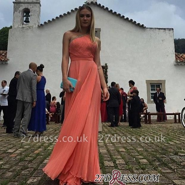 Beading A-line Ruched One-shoulder Floor-length Chic Evening Dress UK