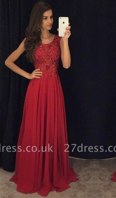 Fit And Flare Sleeveless Red Evening Dress UKes UK Lace Appliques Chiffon