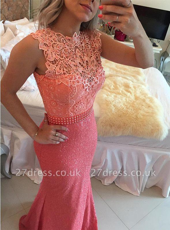 Timeless Sleeveless Lace Pearls Prom Dress UKes UK Mermaid Long Zipper Back BT0