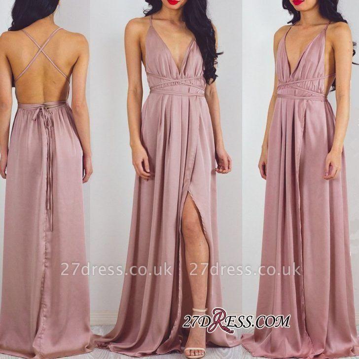Split Halter V-Neck Charming Floor-Length Prom Dress UK
