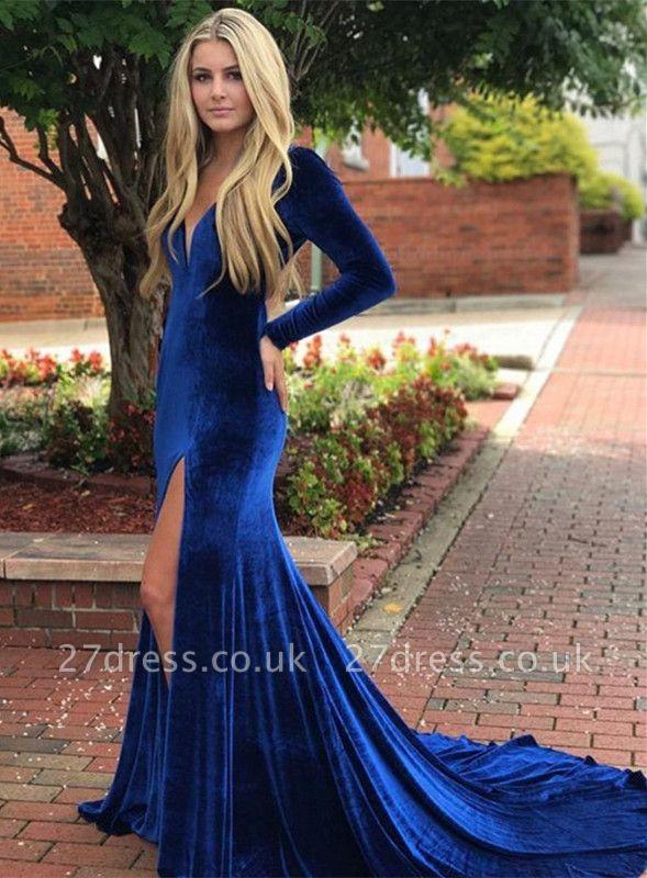 Royal blue mermaid prom Dress UK, long sleeve evening Dress UK with slit