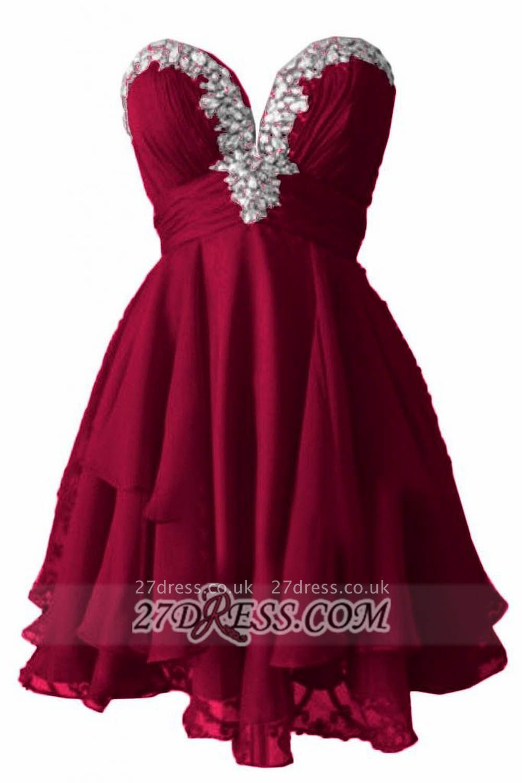 Elegant Sweetheart Sleeveless Homecoming Dress UK Beadings Zipper Chiffon Short Cocktail Gown