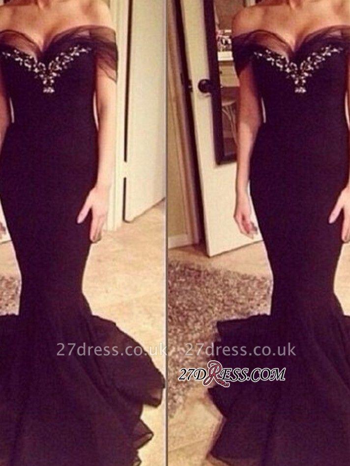 Elegant Sweep-Train Off-the-shoulder Crystal Mermaid Prom Dress UK