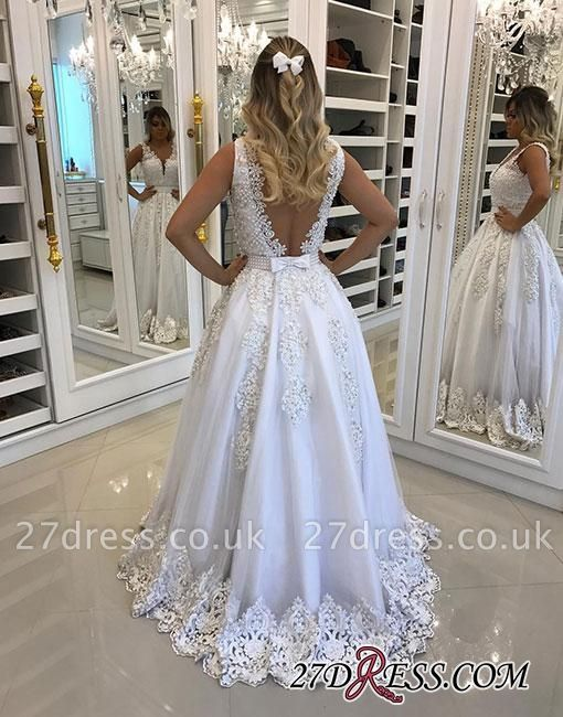 A-line White Bow V-neck Pearls Appliques Evening Dress UK