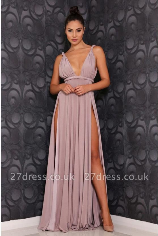 Stunning V-Neck Long Prom Dress UK Chiffon Front Split