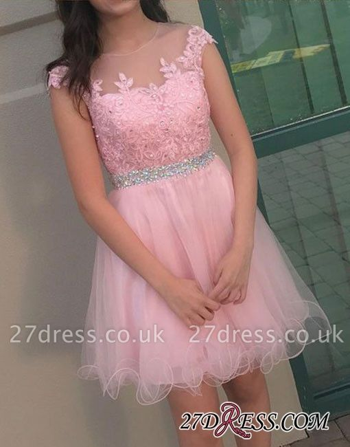 Beading Lace Cute Round-neck Knee-length A-line Cocktail Dress UK
