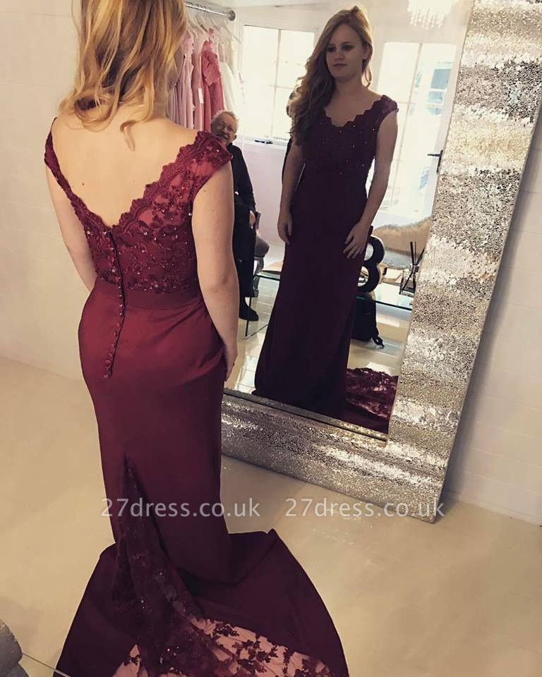 Sexy Sleeveless V-Neck Mermaid Prom Dress UK With Lace Appliques