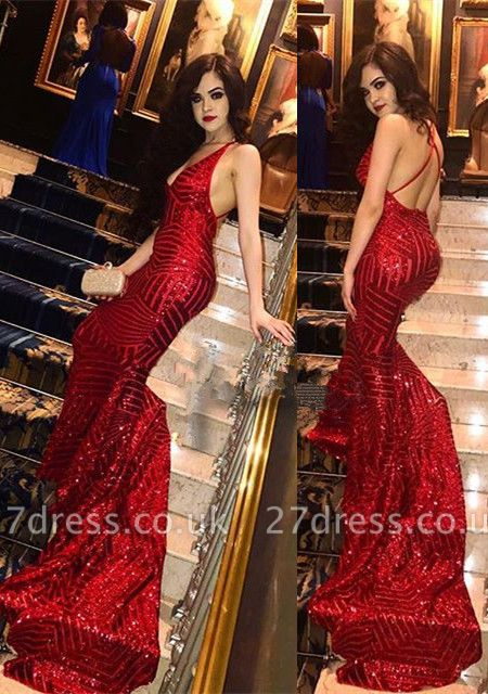 Elegant Red Sequins Prom Dress UK | Mermaid Party Gowns On Sale BA9043