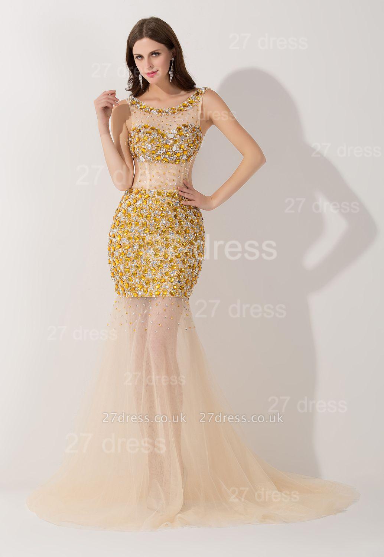 Elegant Crystals Illusion Mermaid Evening Dress UK Sweep Train