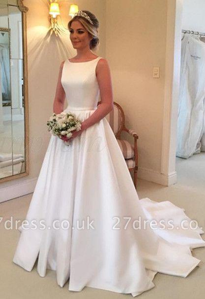 Elegant White Sleeveless Wedding Dress | Simple Bridal Gowns