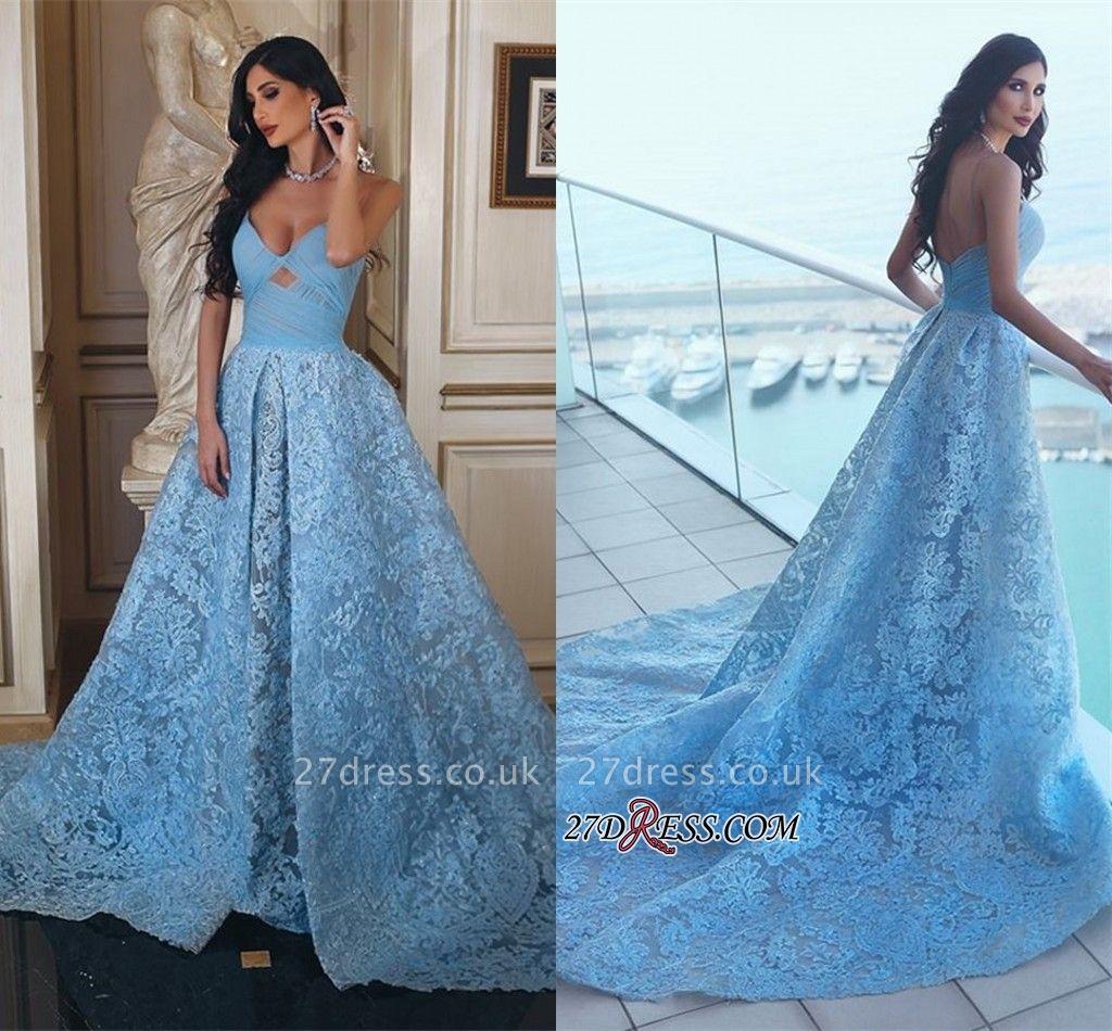 Lace Blue A-line Ruffles Gorgeous Sweetheart Prom Dress UK