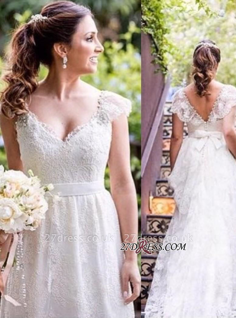 Lace Simple White Cap-sleeves A-line V-neck Bow Wedding Dress