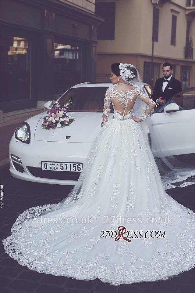 Appliques Tulle Elegant Ball-Gown Long-Sleeves Wedding Dress BA4790
