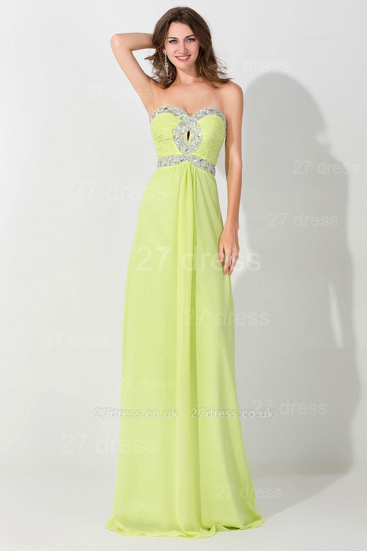 Modern Sleeveless A-line Chiffon Evening Dress UK Beadings Lace-up