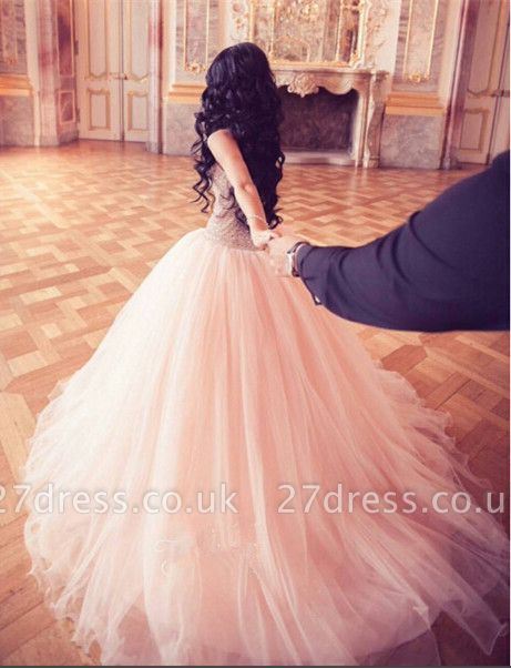Stunning Crystal Princess Tulle Evening Dress UKes UK Floor length Sweet 16 Quinceanera Dress UK