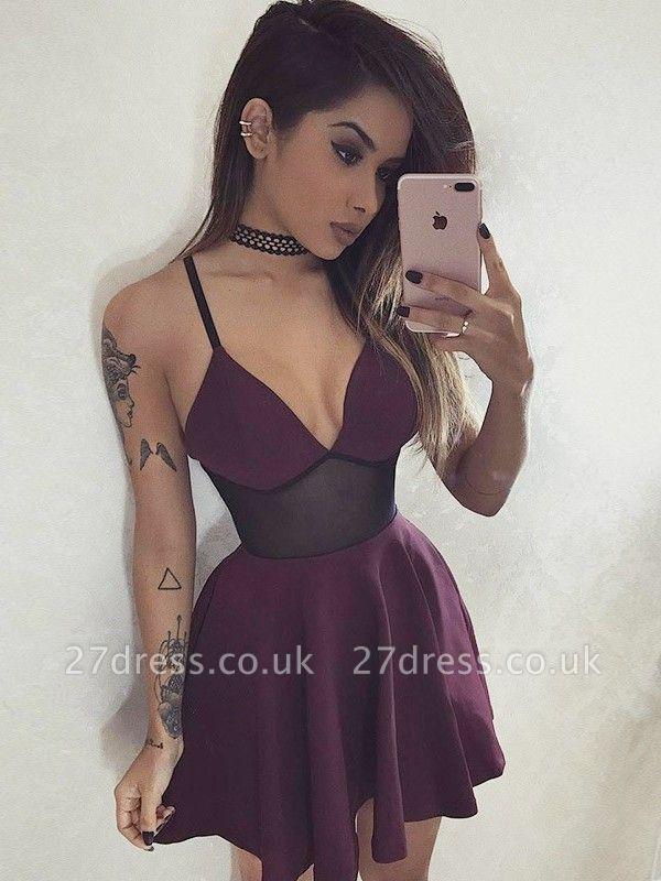 A-Line V-Neck Homecoming Dress UKes UK | Elegant Spaghetti Straps Short Cocktail Dress UK