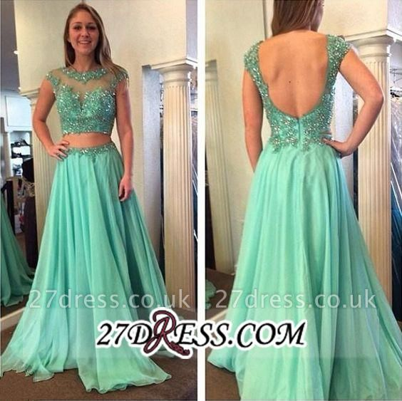 Beading Jewel A-line Long Luxury Two-Piece Cap-Sleeve Prom Dress UK