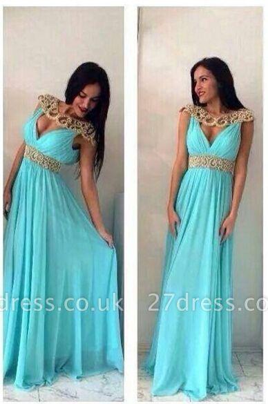 Sexy Jewel Cap Sleeve Chiffon Prom Dress UK With Beadings
