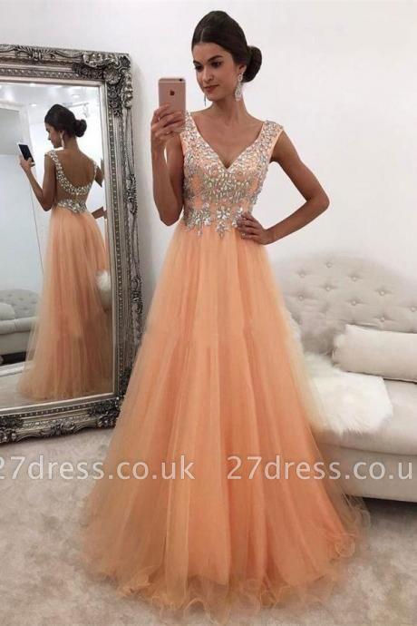 Luxury V-Neck Sleeveless Evening Dress UK Tulle Long With Crystals BA7561