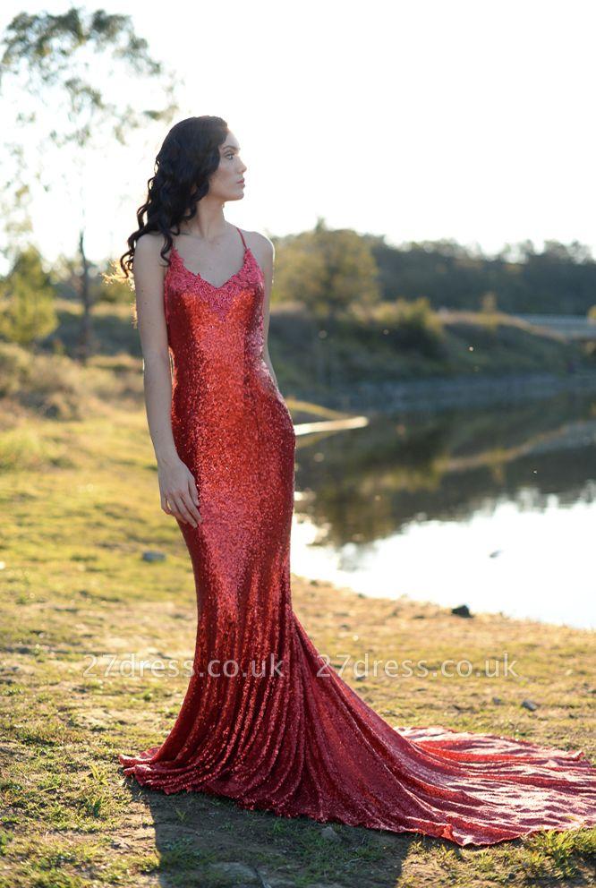 Charming Red Sequins Mermaid Prom Dress UK Long Spaghetti Straps BA8055
