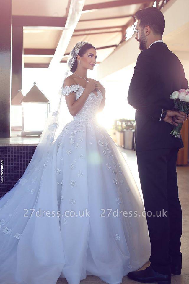 Elegant Off-the-Shoulder Wedding Dresses UK Open Back Appliques Bridal Gowns