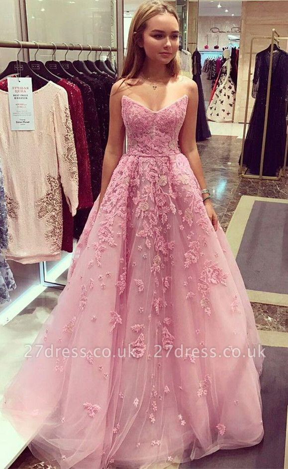 Tulle Appliques Prom Dress UK,, Long Evening Dress UK