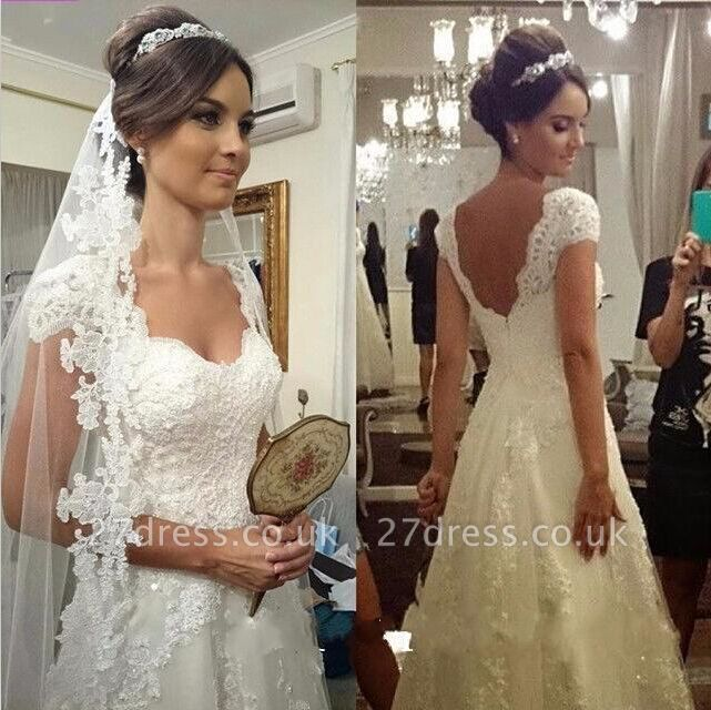 Elegant Sweetheart Cap Sleeve Wedding Dress With Lace Appliques