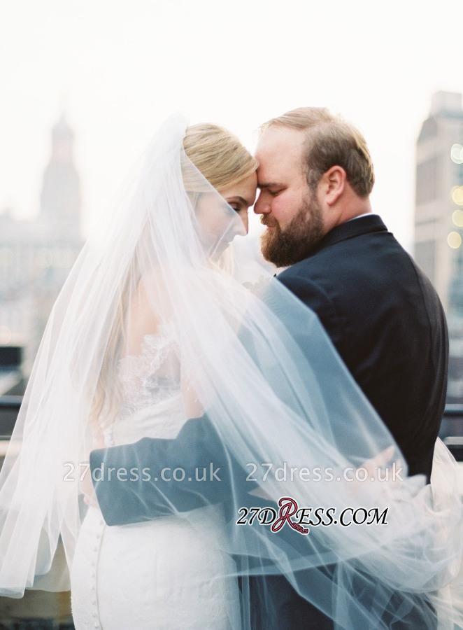 White Sexy Mermaid Off-the-shoulder Zipper Lace Long-Sleeve Elegant Wedding Dress