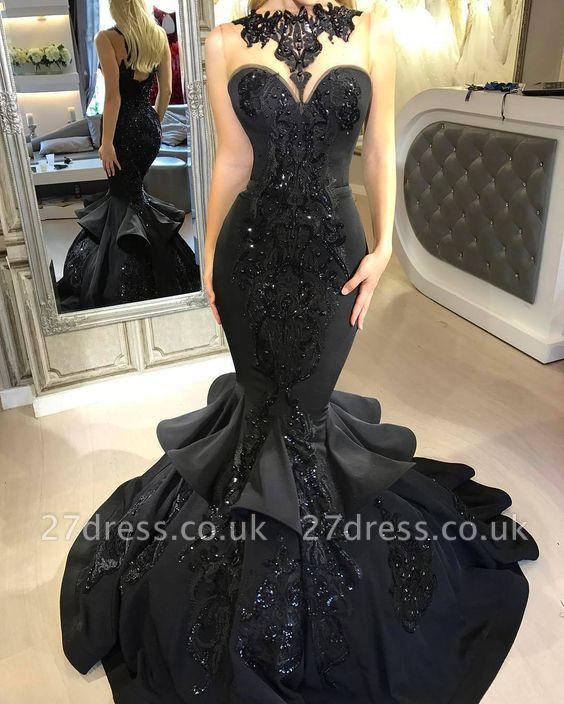 Elegant Black Mermaid Prom Dress UK Long Sequins Ruffles Party Gowns BA7654