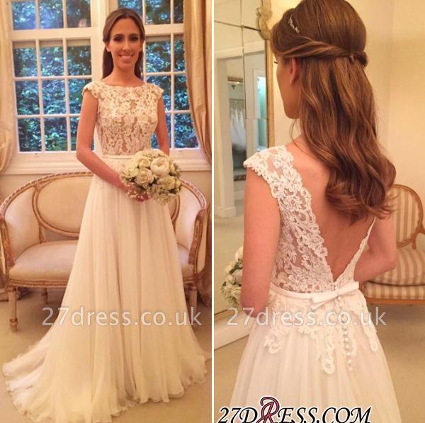 Sleeveless Long  Open-Back Applique A-Line Elegant Wedding Dresses UK