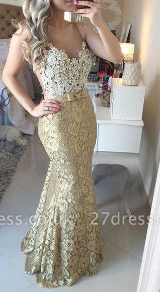 Modern Lace Appliques Mermaid Prom Dress UK Straps Sweep Train Bowknot