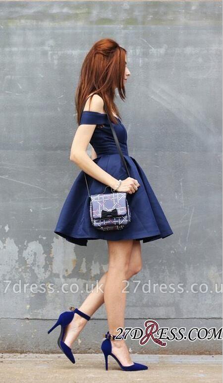 Dark-Navy Off-the-shoulder Modest A-line Short Homecoming Dress UK