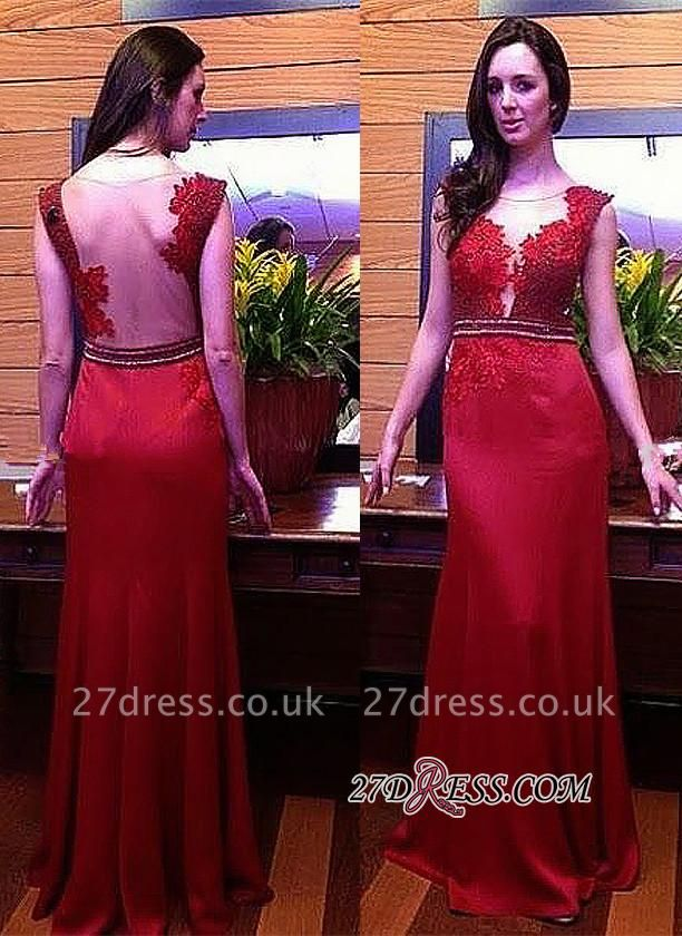 Long Crystal Gorgeous Red Lace Sleeveless Evening Dress UK