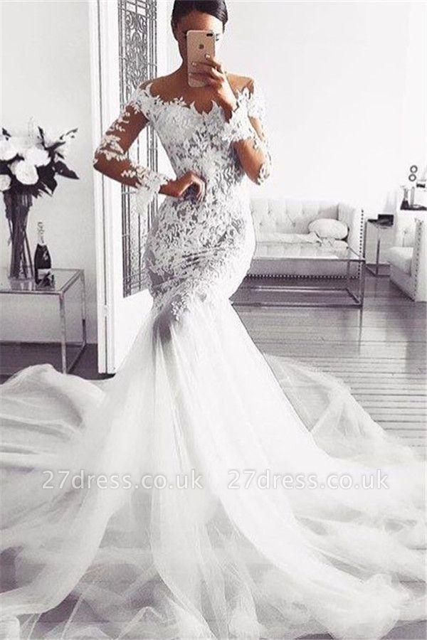 Elegant Off Shoulder Wedding Dresses UK | Long Sleeves  Sexy Mermaid Lace Bridal Gowns