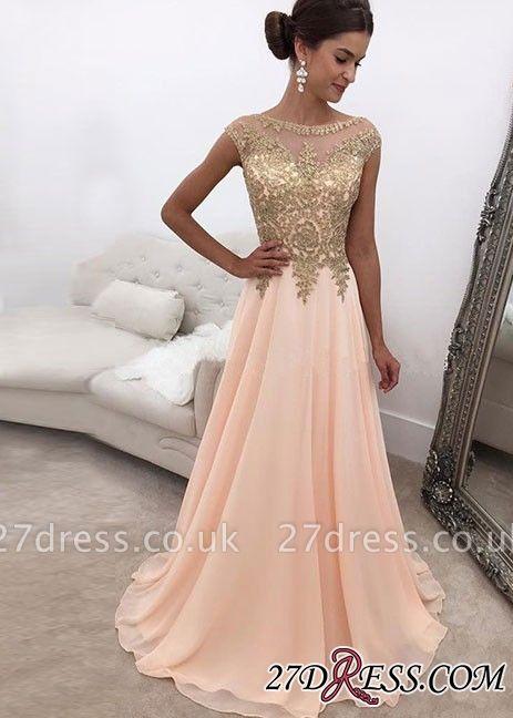 Chiffon Round-neck A-line Sleeveless Beading Pink Sweep-train Evening Dress UK