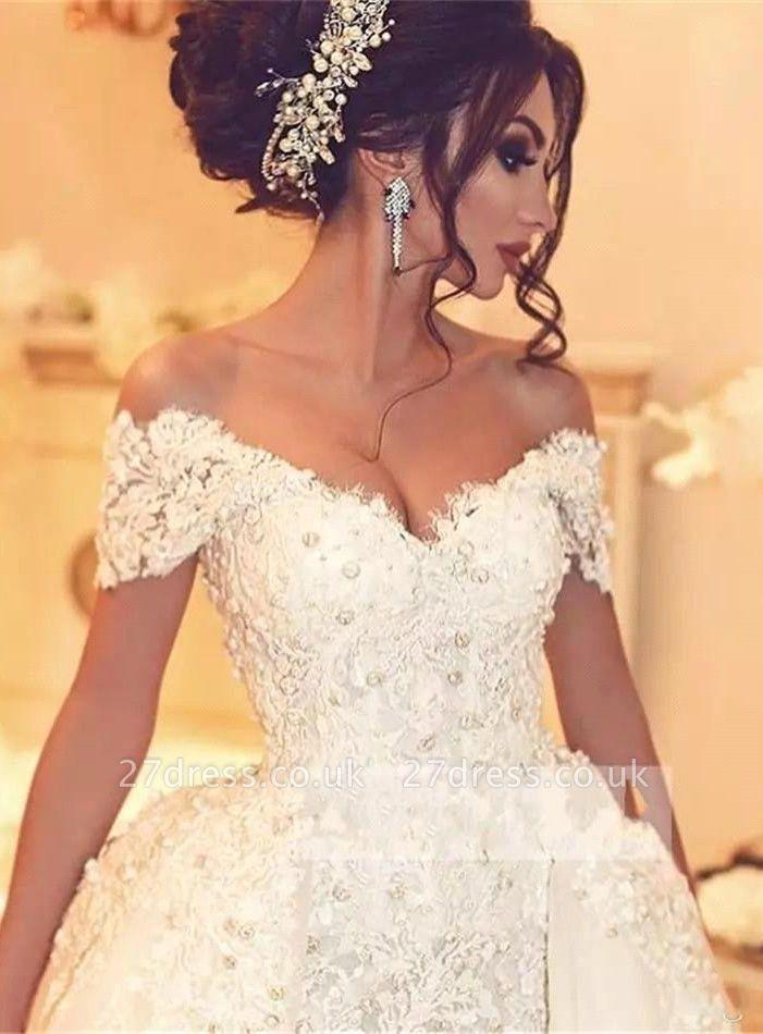 Elegant Off-the-Shoulder Wedding Dress With Lace Appliques On Sale