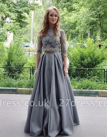 Sexy Scoop Gray Two-Pieces Lace Long Floor-length Half-sleeves Prom Dress UK