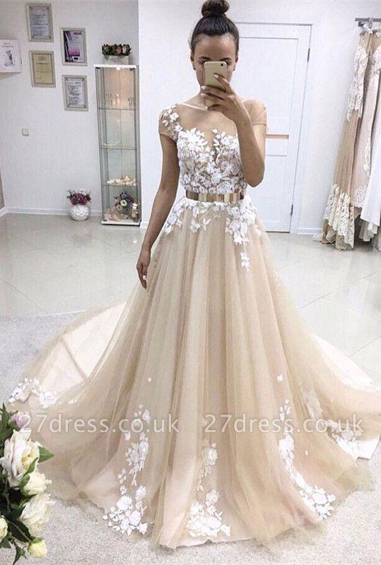Elegant Lace Appliques Wedding Dress Tulle With Golden Belt