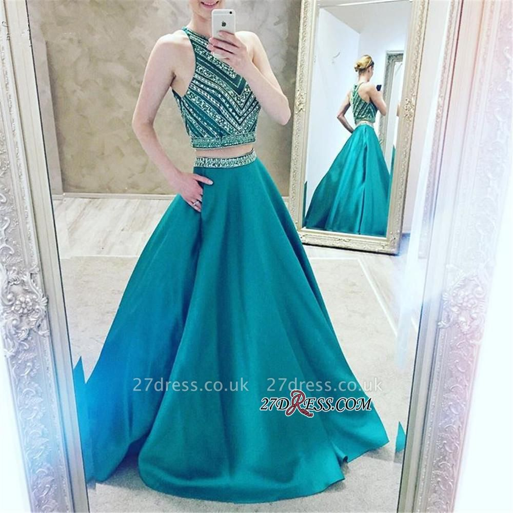 A-Line Two-Pieces Halter Luxury Crystal Sleeveless Prom Dress UK