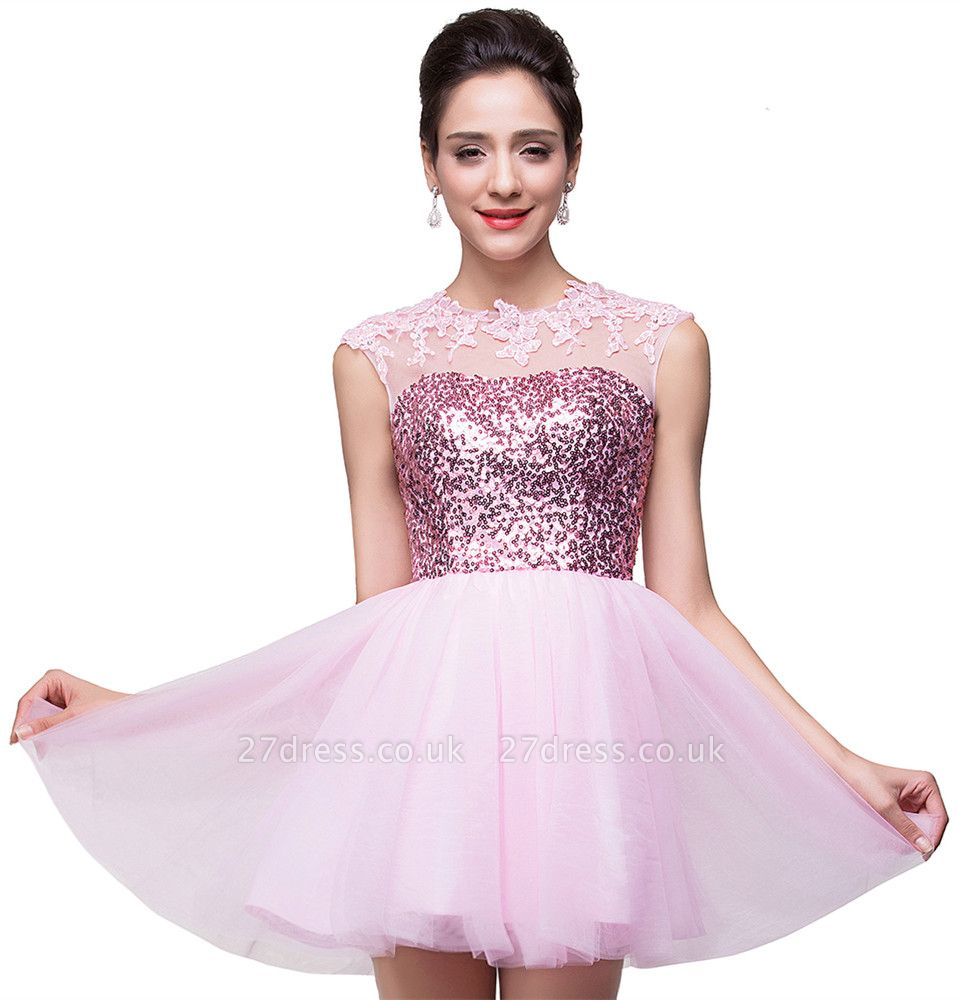 Cute Pink Sequins Sleeveless Homecoming Dress UK Tulle Short