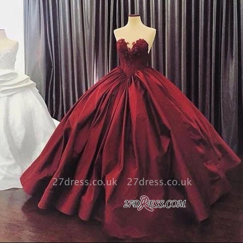 Sleeveless Sweetheart Appliques Ball-Gown Sexy Prom Dress UK