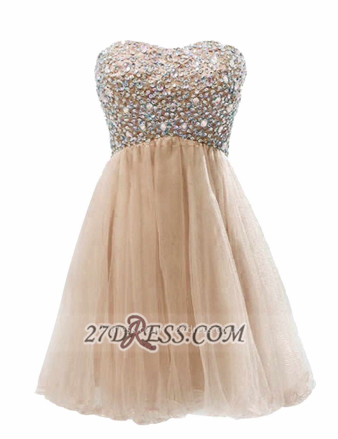Lovely Semi-sweetheart Sleeveless Short Homecoming Dress UK Beadings Crystals Lace-up Tulle Cocktail Gown