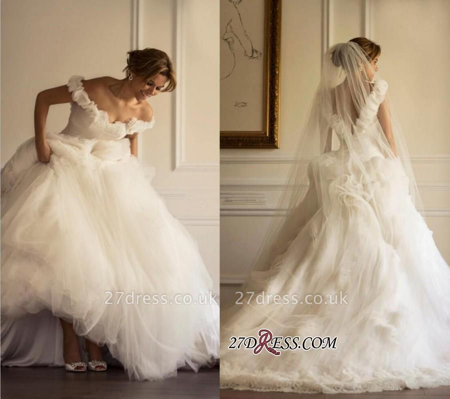 Flowers A-line Ruffles Sweep-Train Tulle Off-the-shoulder Modern Wedding Dress