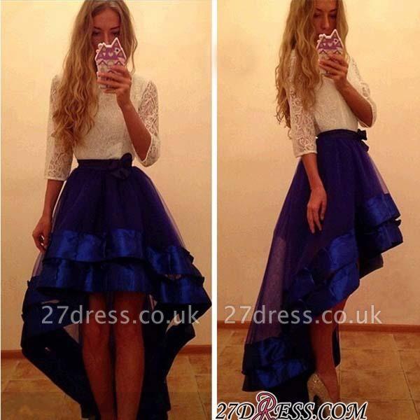 Newest Yoyal-Blue Hi-Lo A-Line White-Lace Tulle Prom Dress UK
