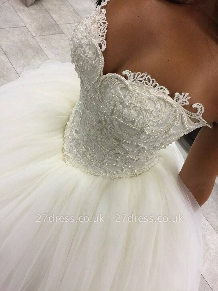 Gorgeous Sweetheart Beadss Princess Wedding Dress Ball Gown Tulle IG042