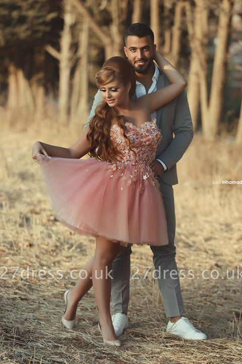 Gorgeous Sweetheart Tulle Short Homecoming Dress UK With Flowers