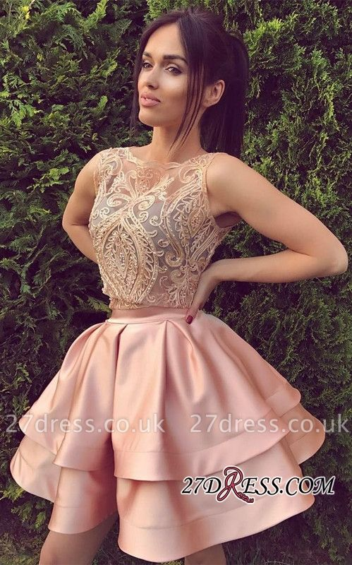 Two-Pieces Mini A-Line Appliques Elegant Sleeveless Homecoming Dress UK BA6764