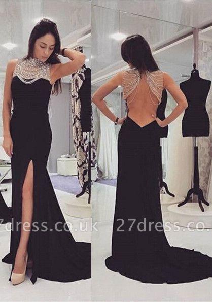 Elegant Black Beadings Prom Dress UK Front Split Long Chiffon Gowns