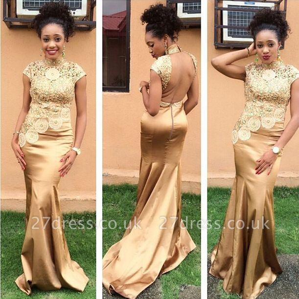 Hot Sale Golden High Neck Evening Dress UK Lace Appliques